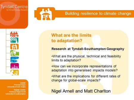 Building resilience to climate change Research at Tyndall-Southampton Geography What are the physical, technical and feasibility limits to adaptation?