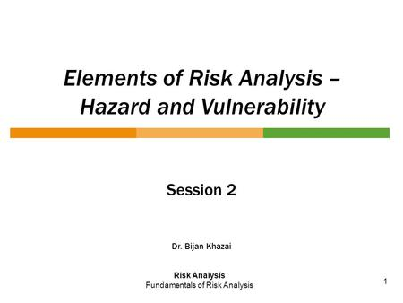 Elements of Risk Analysis – Hazard and Vulnerability