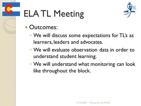 ELA TL Meeting Outcomes: ◦ We will discuss some expectations for TL's as learners, leaders and advocates. ◦ We will evaluate observation data in order.
