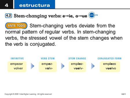 Stem-changing verbs deviate from the normal pattern of regular verbs