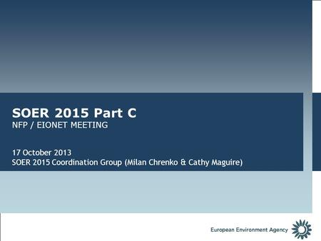 SOER 2015 Part C NFP / EIONET MEETING 17 October 2013 SOER 2015 Coordination Group (Milan Chrenko & Cathy Maguire)