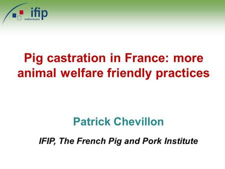 Patrick Chevillon IFIP, The French Pig and Pork Institute Pig castration in France: more animal welfare friendly practices.