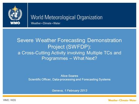 WMO Severe Weather Forecasting Demonstration Project (SWFDP): a Cross-Cutting Activity involving Multiple TCs and Programmes – What Next? Alice Soares.