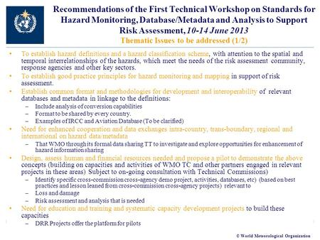 © World Meteorological Organization Recommendations of the First Technical Workshop on Standards for Hazard Monitoring, Database/Metadata and Analysis.