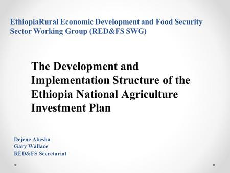 EthiopiaRural Economic Development and Food Security Sector Working Group (RED&FS SWG) The Development and Implementation Structure of the Ethiopia National.