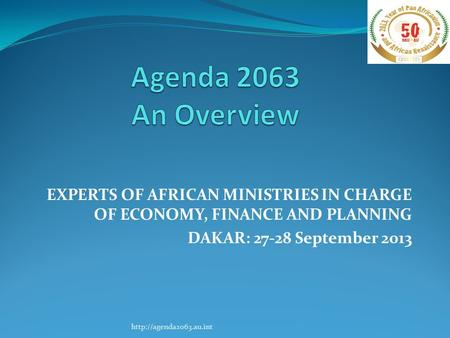 EXPERTS OF AFRICAN MINISTRIES IN CHARGE OF ECONOMY, FINANCE AND PLANNING DAKAR: 27-28 September 2013