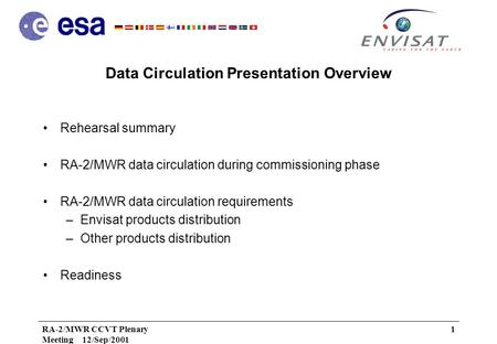 RA-2/MWR CCVT Plenary Meeting 12/Sep/2001 1 Data Circulation Presentation Overview Rehearsal summary RA-2/MWR data circulation during commissioning phase.