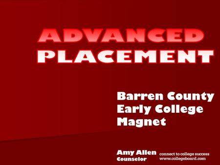 Barren County Early College Magnet Amy Allen Counselor.
