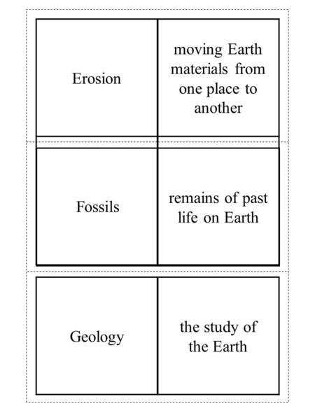Erosion moving Earth materials from one place to another Geology the study of the Earth remains of past life on Earth Fossils.