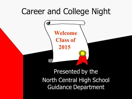 Career and College Night Presented by the North Central High School Guidance Department Welcome Class of 2015.