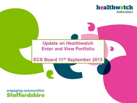 Update on Healthwatch Enter and View Portfolio ECS Board 11 th September 2013.