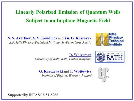 Linearly Polarized Emission of Quantum Wells Subject to an In-plane Magnetic Field N. S. Averkiev, A. V. Koudinov and Yu. G. Kusrayev A.F. Ioffe Physico-Technical.