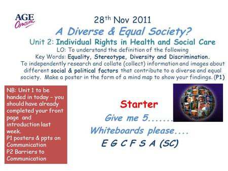 28 th Nov 2011 A Diverse & Equal Society? Unit 2: Individual Rights in Health and Social Care LO: To understand the definition of the following Key Words: