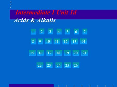 Intermediate 1 Unit 1d Acids & Alkalis 1 23 4567 89 10 111213 14 15 22 23242526 161718192021.
