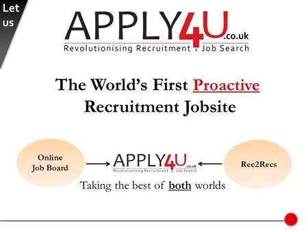 Taking the best of both worlds Online Job Board Rec2Recs The World's First Proactive Recruitment Jobsite Let us.