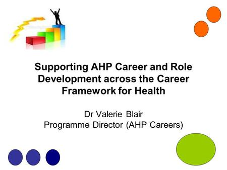 Supporting AHP Career and Role Development across the Career Framework for Health Dr Valerie Blair Programme Director (AHP Careers)