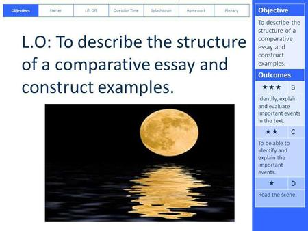 Objective To describe the structure of a comparative essay and construct examples. Outcomes  B Identify, explain and evaluate important events in the.
