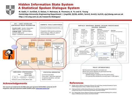 Hidden Information State System A Statistical Spoken Dialogue System M. Gašić, F. Jurčíček, S. Keizer, F. Mairesse, B. Thomson, K. Yu and S. Young Cambridge.