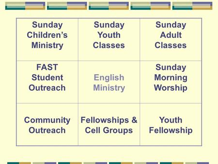 Sunday Children's Ministry Sunday Youth Classes Sunday Adult Classes FAST Student Outreach English Ministry Sunday Morning Worship Community Outreach Fellowships.