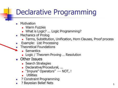 1 Declarative Programming Motivation Warm Fuzzies What is Logic?... Logic Programming? Mechanics of Prolog Terms, Substitution, Unification, Horn Clauses,