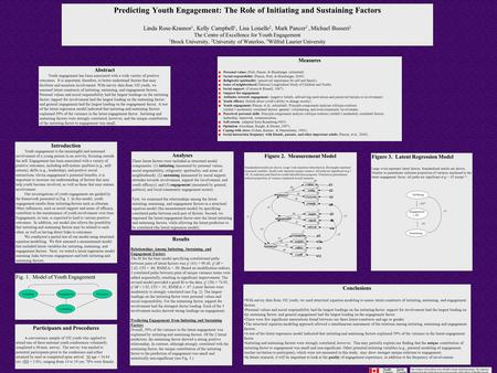 Predicting Youth Engagement: The Role of Initiating and Sustaining Factors Linda Rose-Krasnor 1, Kelly Campbell 1, Lisa Loiselle 2, Mark Pancer 3, Michael.