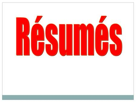 Résumé Writing The main reason for a résumé is to promote your qualifications, to get the employer interested enough to offer you an interview.