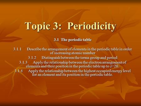 3.1.2 Distinguish between the terms group and period