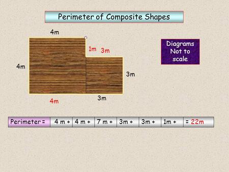 4m 3m Diagrams Not to scale Perimeter of Composite Shapes ? ? ? Perimeter = 4 m + 7 m +3m + 1m += 22m 4m 3m 1m.