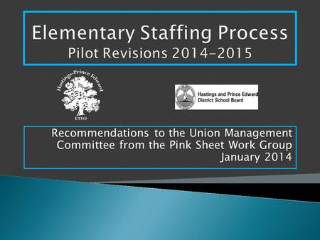 Recommendations to the Union Management Committee from the Pink Sheet Work Group January 2014.