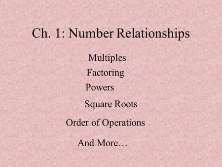 Ch. 1: Number Relationships