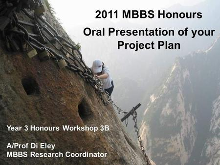 2011 MBBS Honours Oral Presentation of your Project Plan Year 3 Honours Workshop 3B A/Prof Di Eley MBBS Research Coordinator.