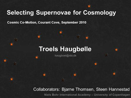 Selecting Supernovae for Cosmology