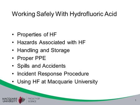 Working Safely With Hydrofluoric Acid