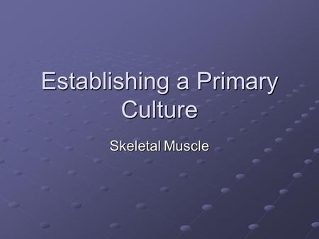 Establishing a Primary Culture Skeletal Muscle. Muscle regeneration in vivo - likeness to formation of myotubes in culture. Haematoxylin and Eosin stained.