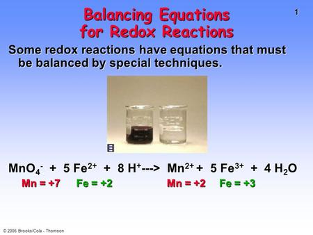 1 © 2006 Brooks/Cole - Thomson Balancing Equations for Redox Reactions Some redox reactions have equations that must be balanced by special techniques.