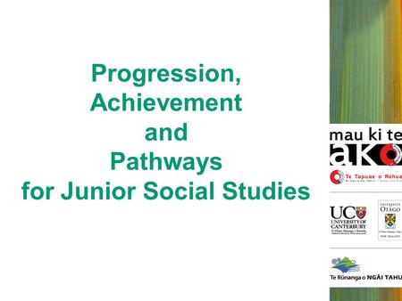 Progression, Achievement and Pathways for Junior Social Studies