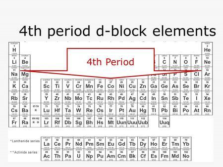 Transition metals d block elements between groups 2 and 3 in the 4th period d block elements 4th period d block elements center block urtaz Images