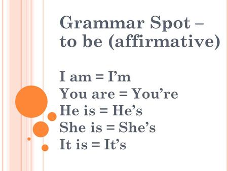 Grammar Spot – to be (affirmative)