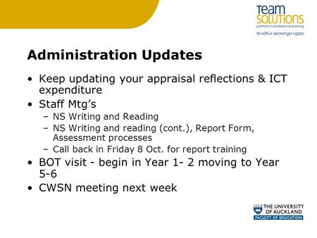 Administration Updates