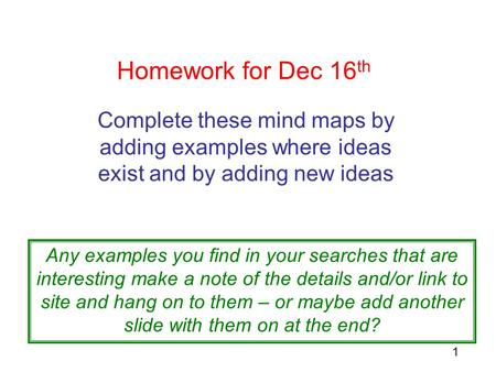 1 Homework for Dec 16 th Complete these mind maps by adding examples where ideas exist and by adding new ideas Any examples you find in your searches that.