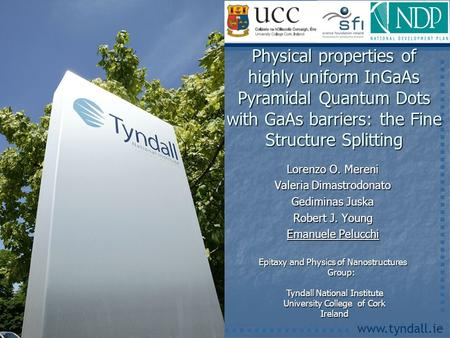 Www.tyndall.ie Lorenzo O. Mereni Valeria Dimastrodonato Gediminas Juska Robert J. Young Emanuele Pelucchi Physical properties of highly uniform InGaAs.