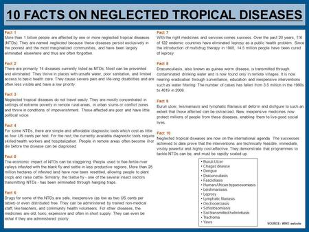 10 FACTS ON NEGLECTED TROPICAL DISEASES Fact 1 More than 1 billion people are affected by one or more neglected tropical diseases (NTDs). They are named.