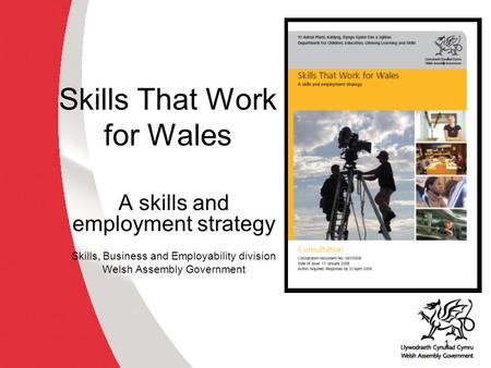 1 Skills That Work for Wales A skills and employment strategy Skills, Business and Employability division Welsh Assembly Government.
