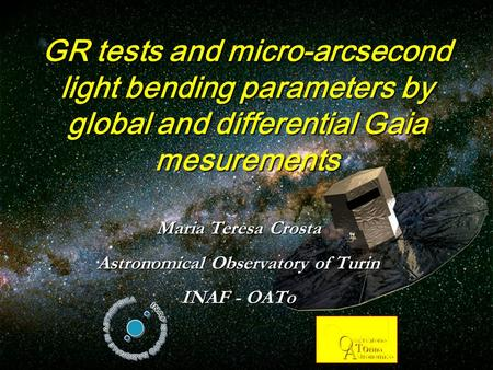 March 31 2006, Birmingham GR tests and micro-arcsecond light bending parameters by global and differential Gaia mesurements Maria Teresa Crosta Astronomical.