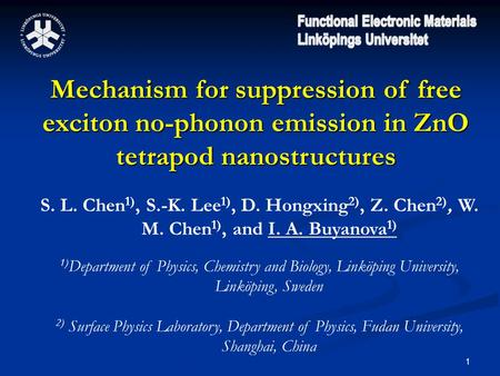 1 Mechanism for suppression of free exciton no-phonon emission in ZnO tetrapod nanostructures S. L. Chen 1), S.-K. Lee 1), D. Hongxing 2), Z. Chen 2),