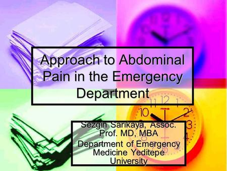 Approach to Abdominal Pain in the Emergency Department