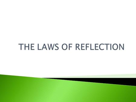 THE LAWS OF REFLECTION.