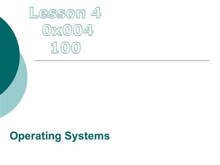 Lesson 4 0x004 100 Operating Systems.