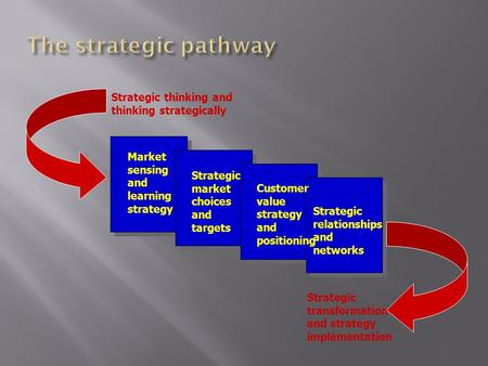 Market sensing and learning strategy Strategic market choices and targets Customer value strategy and positioning Strategic relationships and networks.