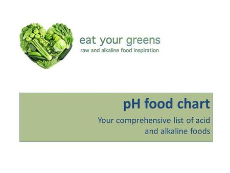 PH food chart Your comprehensive list of acid and alkaline foods.